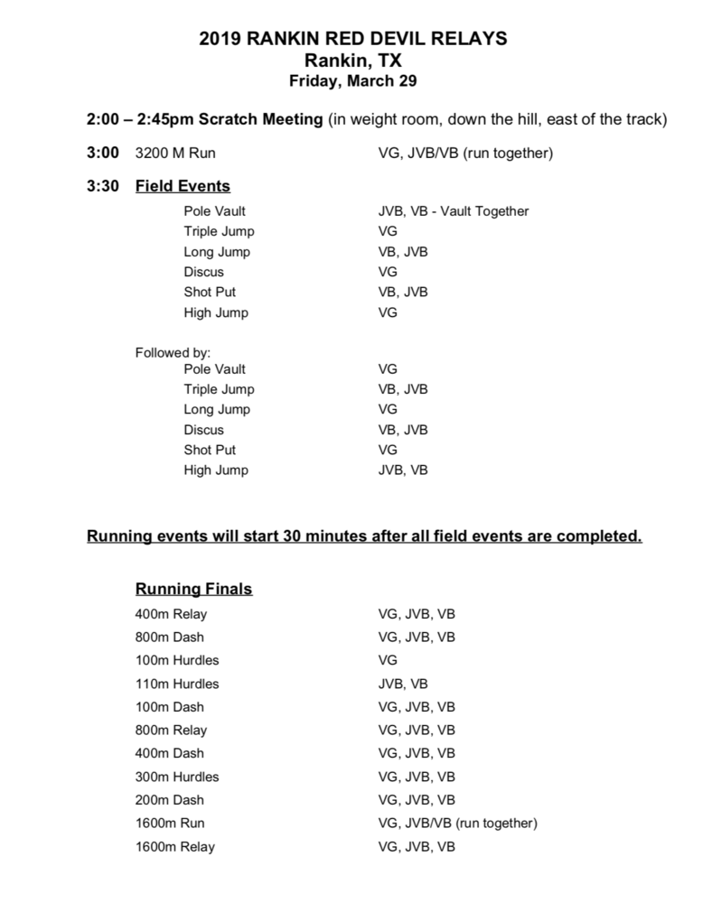 Rankin HS Track Meet Schedule