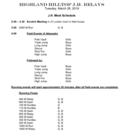 Highland JH Meet Schedule