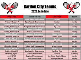 HS Tennis Schedule 2020 (Updated 1/29/2020)