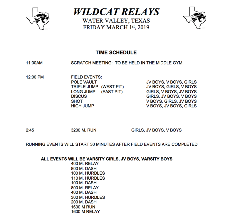 Water Valley Track Meet Schedules