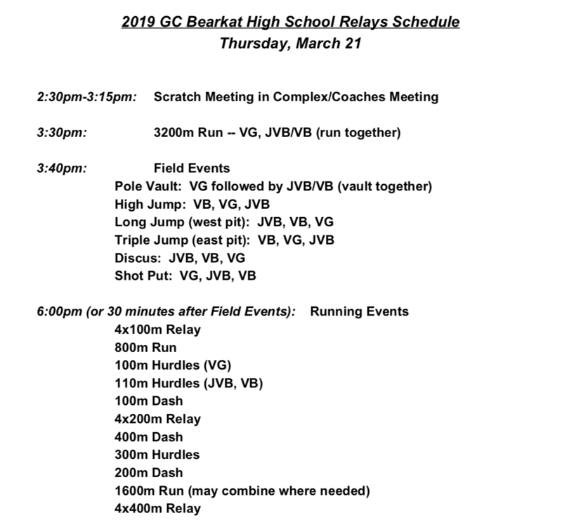 GC Bearkat Relays Schedule - HS