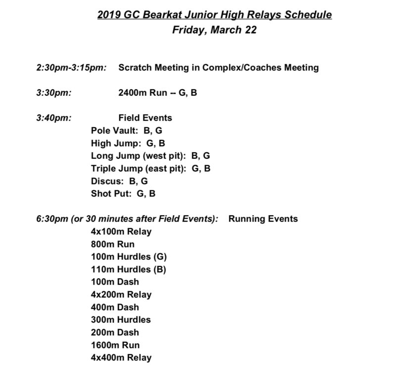 GC Bearkat Relays Schedule - JH