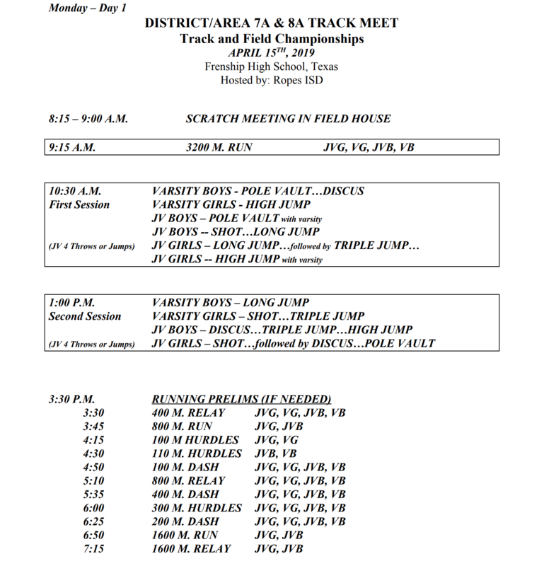 District/Area Track Meet Schedule
